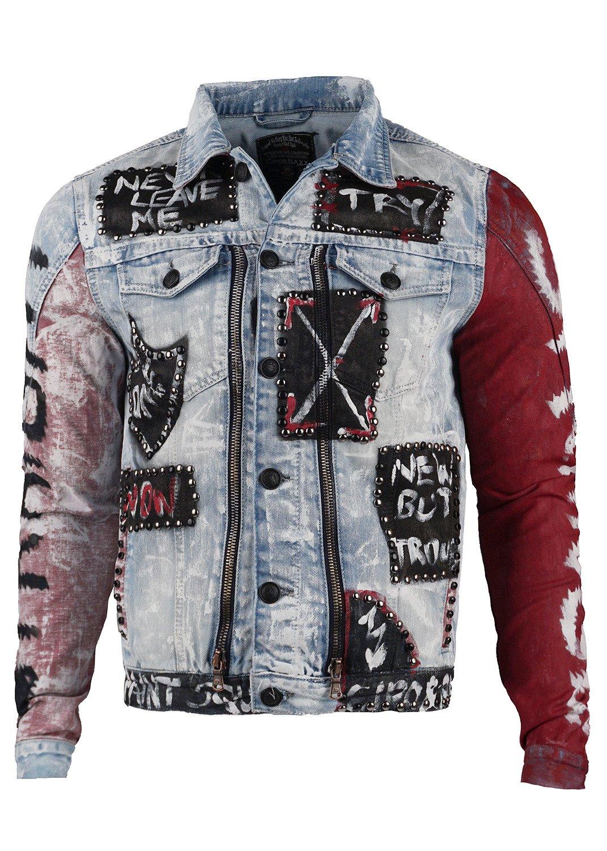 Zu Nieten Patches Jeans Baxx Cipoamp; Cj121 Denim Details Biker Herren Jacke QoeECdWrxB